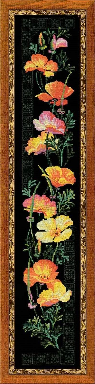 Вышивка на черно цветы