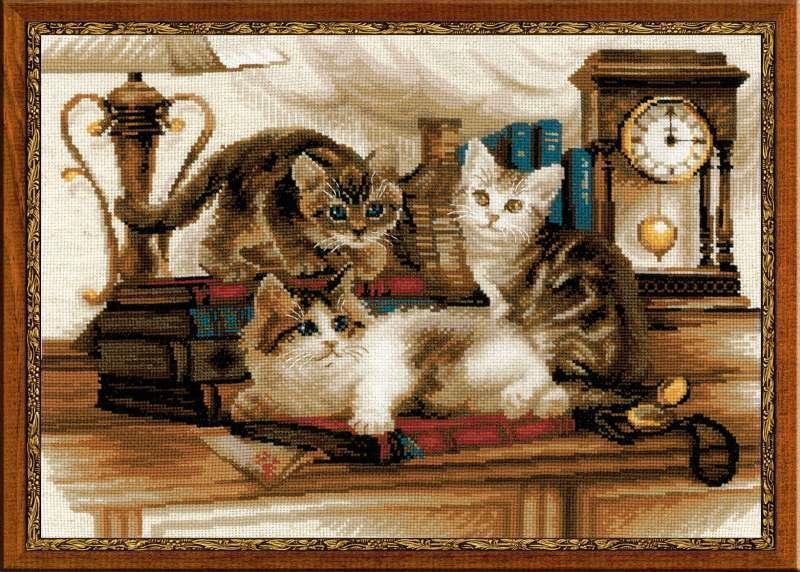 Кошачье семейство вышивка крестом 2